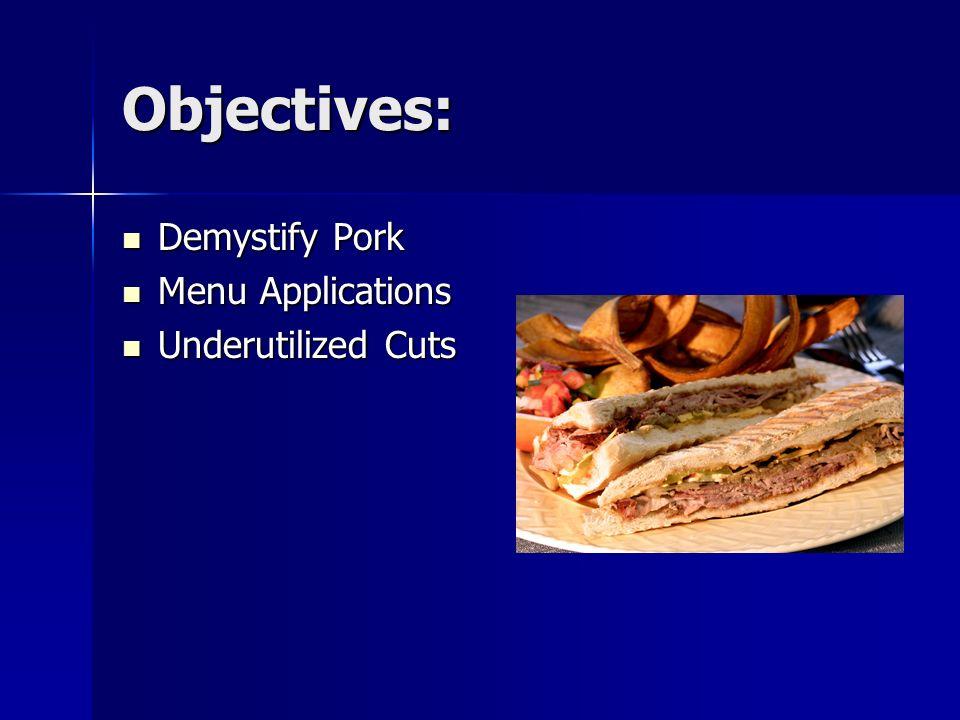 Objectives: Demystify Pork Demystify Pork Menu Applications Menu Applications Underutilized Cuts Underutilized Cuts