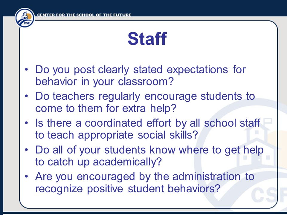 Staff Do you post clearly stated expectations for behavior in your classroom? Do teachers regularly encourage students to come to them for extra help?