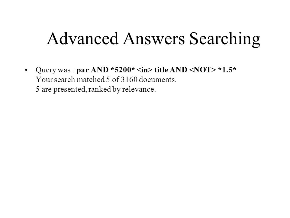 Advanced Answers Searching Query was : par AND *5200* title AND *1.5* Your search matched 5 of 3160 documents. 5 are presented, ranked by relevance.