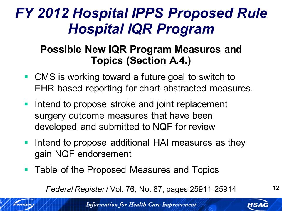 12 Possible New IQR Program Measures and Topics (Section A.4.) CMS is working toward a future goal to switch to EHR-based reporting for chart-abstracted measures.