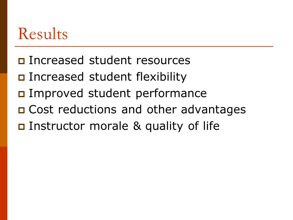 Results Increased student resources Increased student flexibility Improved student performance Cost reductions and other advantages Instructor morale