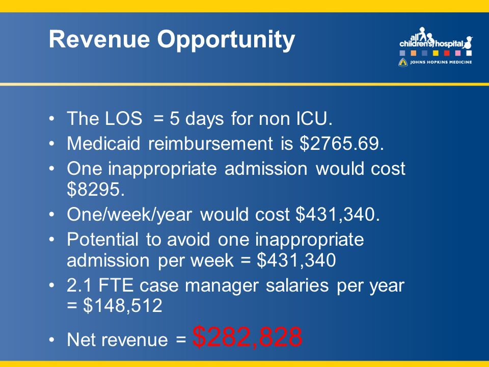 Revenue Opportunity The LOS = 5 days for non ICU. Medicaid reimbursement is $2765.69.