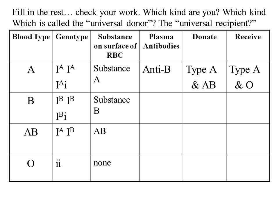 Blood TypeGenotypeSubstance on surface of RBC Plasma Antibodies DonateReceive AI A I A i Substance A Anti-BType A & AB Type A & O BI B I B i Substance