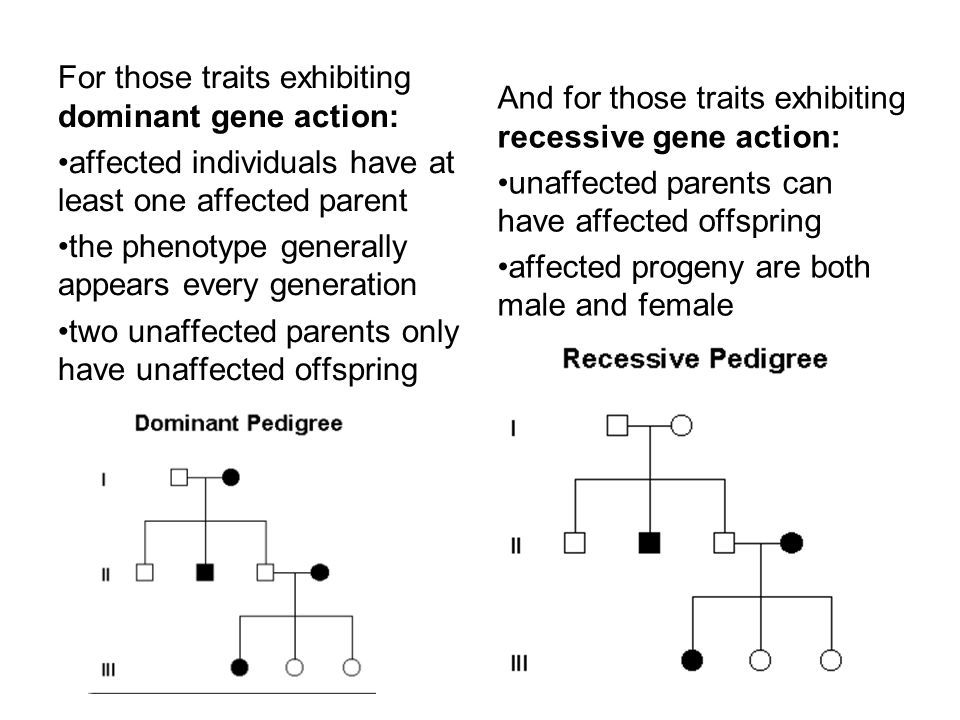 For those traits exhibiting dominant gene action: affected individuals have at least one affected parent the phenotype generally appears every generat