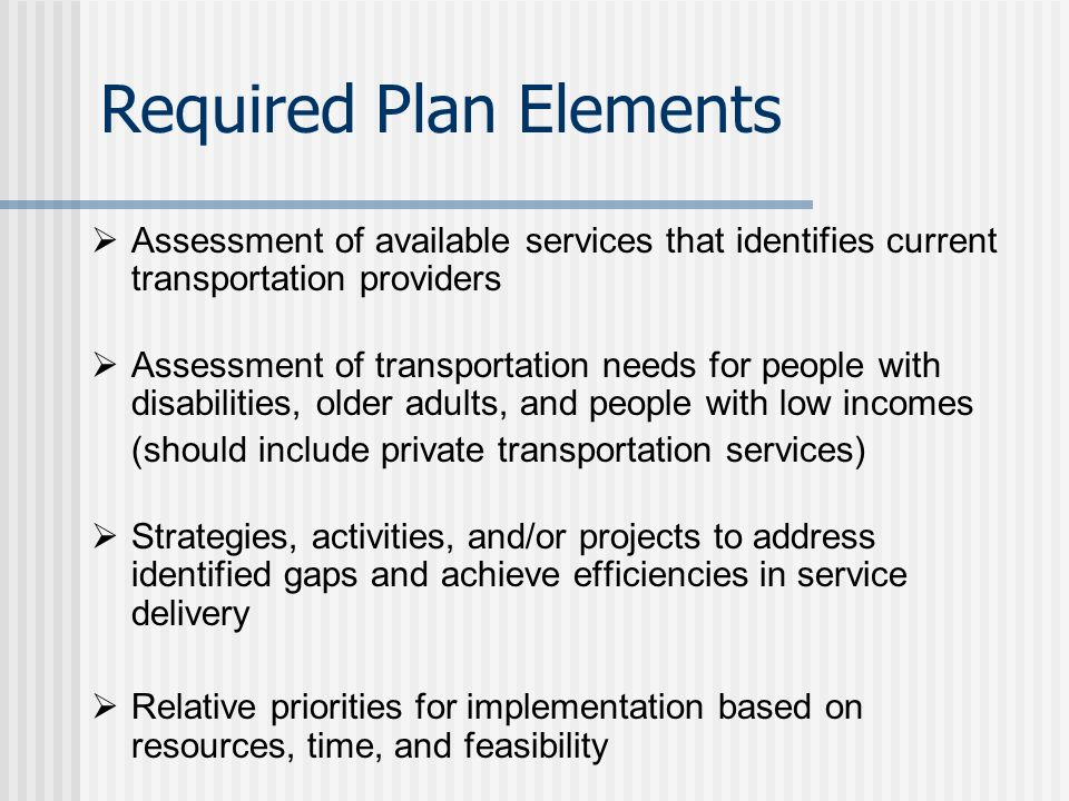 New requirement under SAFETEA-LU Projects funded through the FTAs Job Access and Reverse Commute and New Freedom Programs must be derived from a locally developed coordinated public transit-human services transportation plan Process must include representatives of public, private, and non-profit transportation and human service providers, and participation by members of the public Coordinated Planning Requirements