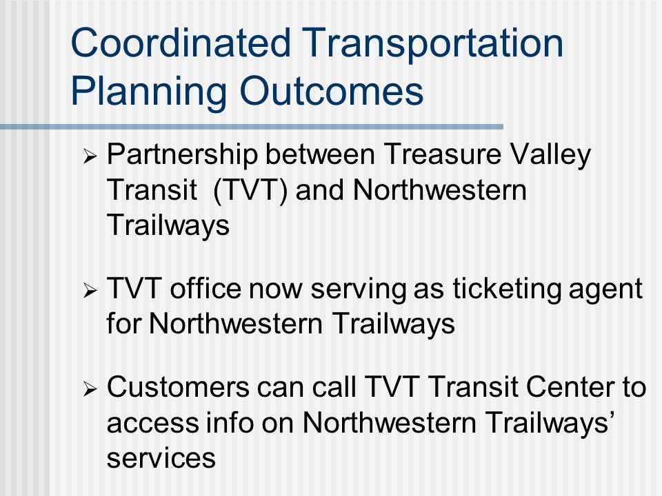 Coordinated Transportation Plan – Example Components Relevant for Private Transportation Providers Inventory of Public and Private Transportation Services Transportation Needs and Issues Gaps in intercity bus services Intermodal transportation centers Improved coordination between public transit, intercity bus services, and human service transportation providers Lack of central point of contact for information on all available transportation services