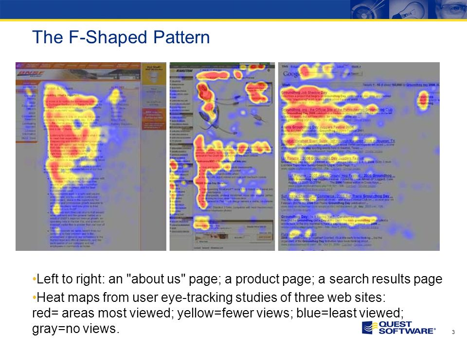 3 The F-Shaped Pattern Left to right: an about us page; a product page; a search results page Heat maps from user eye-tracking studies of three web sites: red= areas most viewed; yellow=fewer views; blue=least viewed; gray=no views.