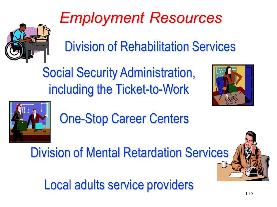 114 Employment Options Employment Options Competitive Employment Supported Employment Self-employment Self-employment Personalized job development Per
