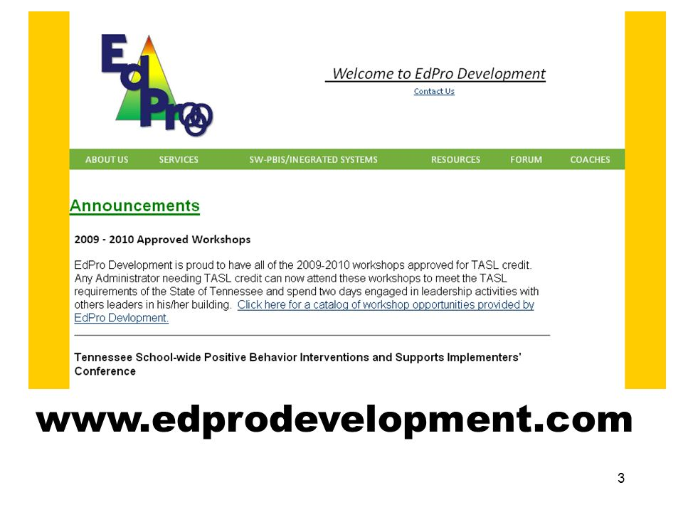 Providing professional development to schools with over 30 years of combined experience. Ed P r o o o Development 2