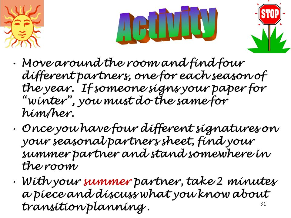 30 For the next activity you will need your seasonal partners sheet and your Transition Requirements Checklist from… SEASONAL PARTNERS INDIVIDUALS WIT
