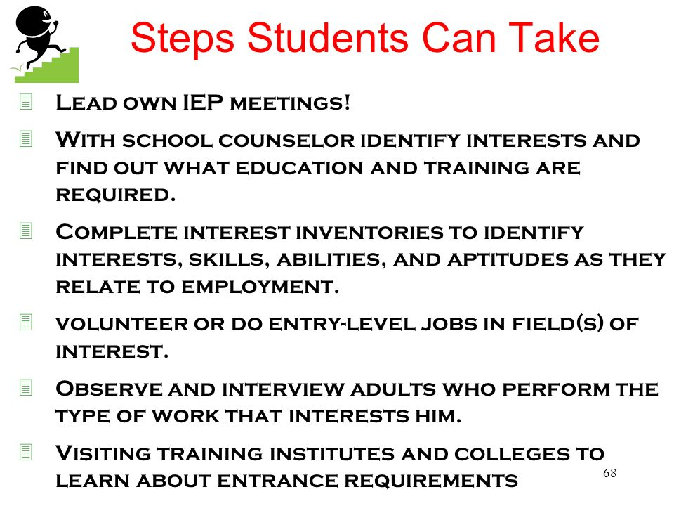 67 Student Involvement At your table brainstorm for 3 minutes, on a poster, ways students can participate in the transition process! Share