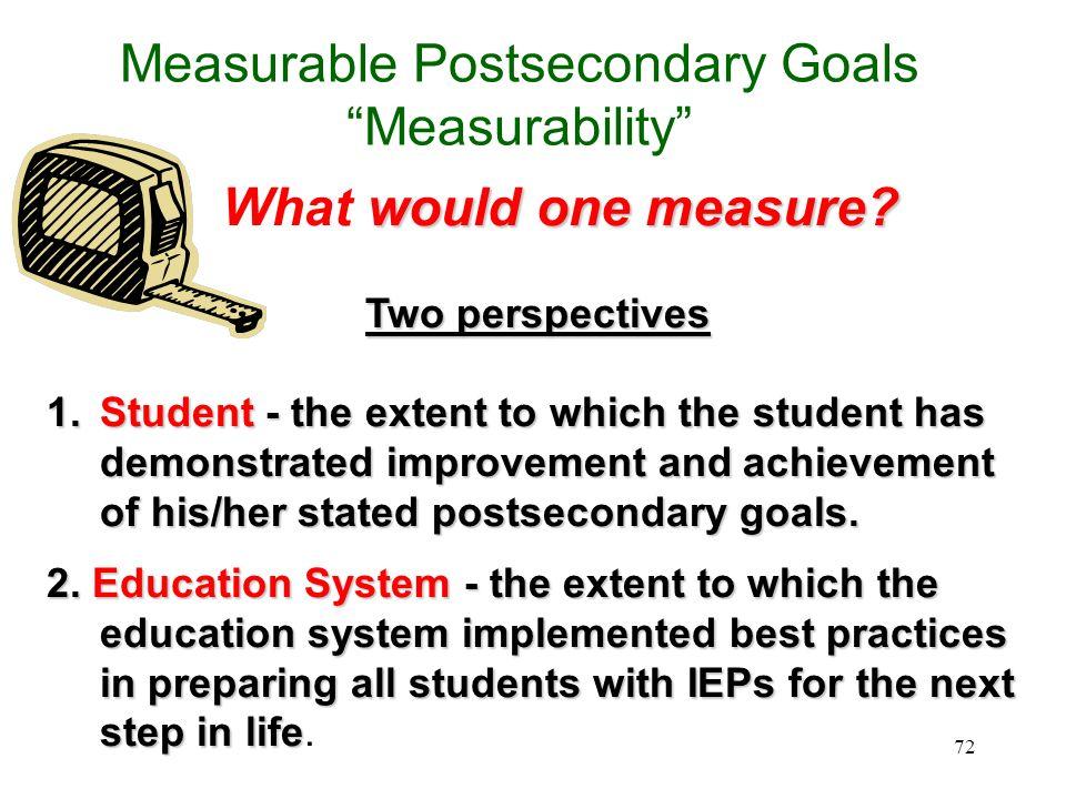 71 Measurable Postsecondary Goals Measurability What would one measure?What would one measure? How would one measure whetherHow would one measure whet