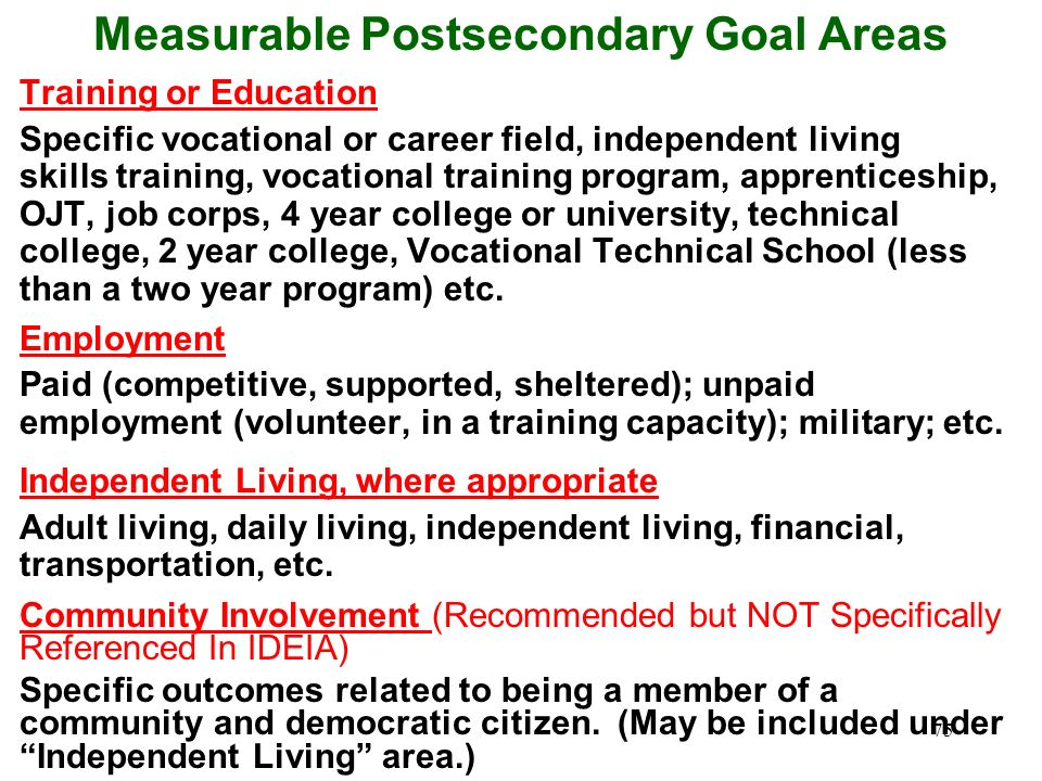 74 How do I write measurable postsecondary goals? Use results-oriented terms such as enrolled in, work, live independently Use descriptors such as ful
