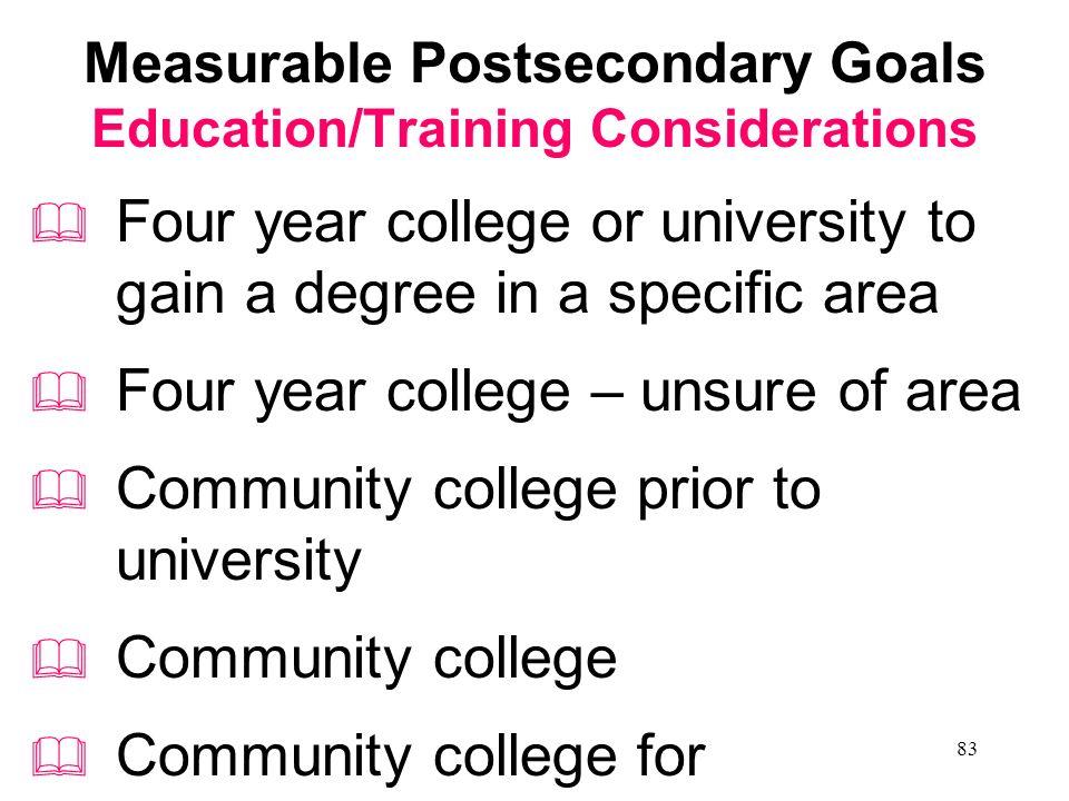 82 Lifelong Learners Measurable Postsecondary Goals Employment Postsecondary Education/ Training