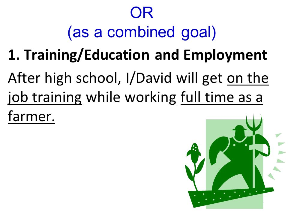 95 1. Training/Education After high school, I/David will get on the job training to become a farmer. 2. Employment After high school, I/David will wor