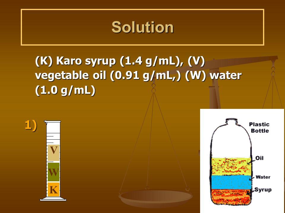 Solution (K) Karo syrup (1.4 g/mL), (V) vegetable oil (0.91 g/mL,) (W) water (1.0 g/mL) 1) K W V