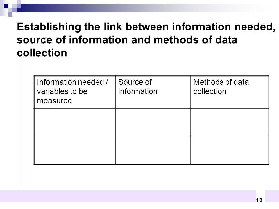 16 Establishing the link between information needed, source of information and methods of data collection Information needed / variables to be measure