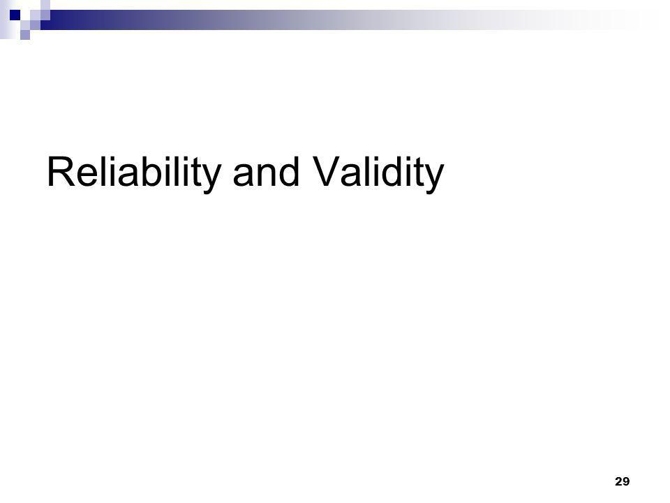 29 Reliability and Validity