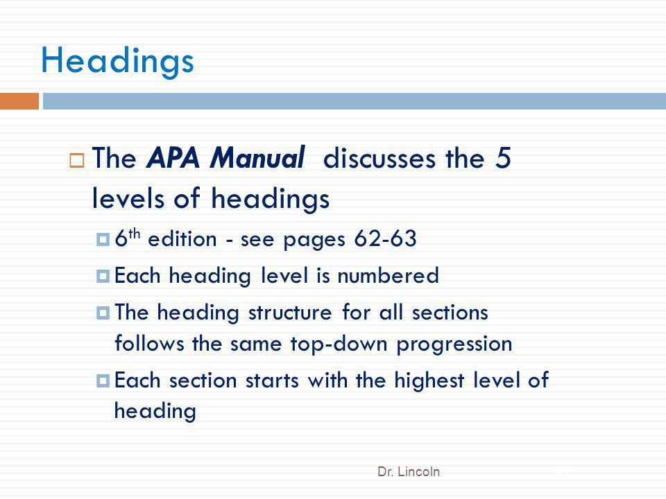 Headings The APA Manual discusses the 5 levels of headings 6 th edition - see pages 62-63 Each heading level is numbered The heading structure for all