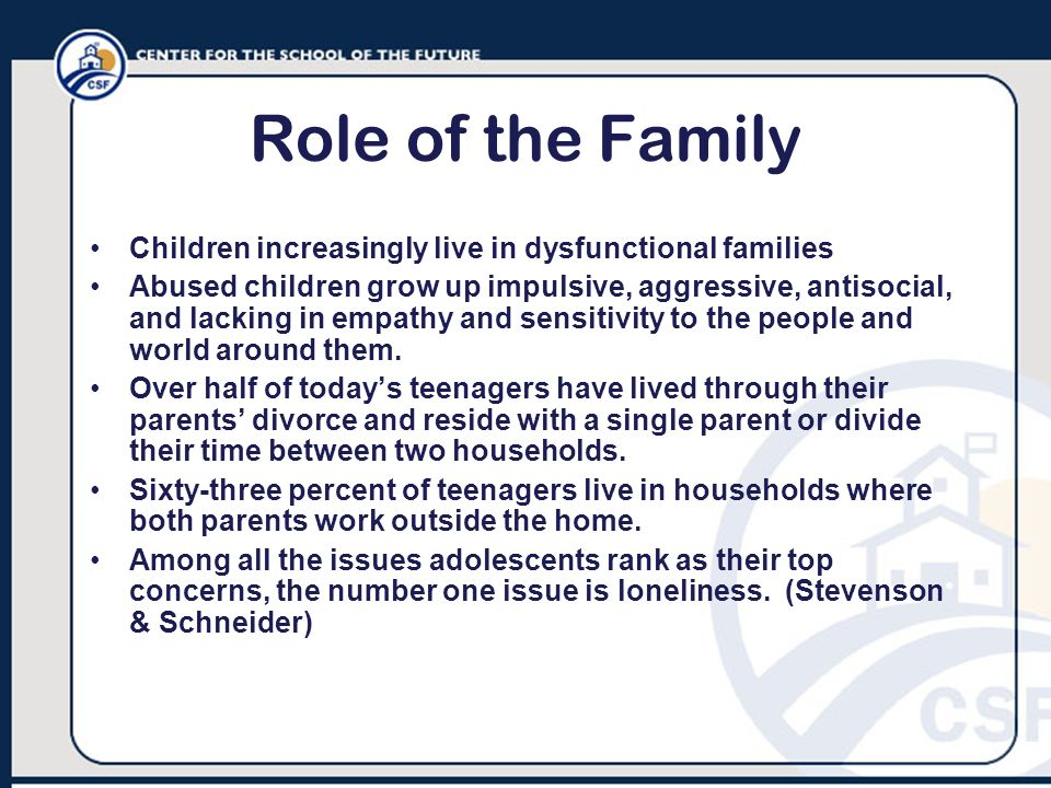 Role of the Family Children increasingly live in dysfunctional families Abused children grow up impulsive, aggressive, antisocial, and lacking in empa