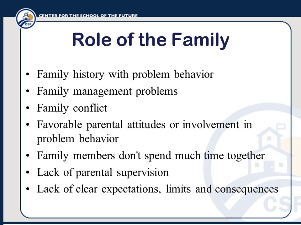 Role of the Family Family history with problem behavior Family management problems Family conflict Favorable parental attitudes or involvement in prob