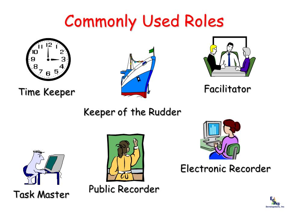 Commonly Used Roles Commonly Used Roles Time Keeper Time Keeper Facilitator Facilitator Keeper of the Rudder Task Master Task Master Public Recorder E