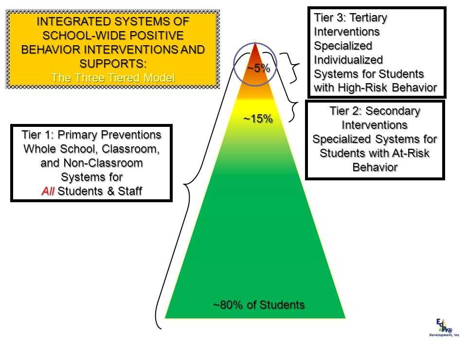 Tier 1: Primary Preventions Whole School, Classroom, and Non-Classroom Systems for All Students & Staff ~80% of Students Tier 2: Secondary Interventio