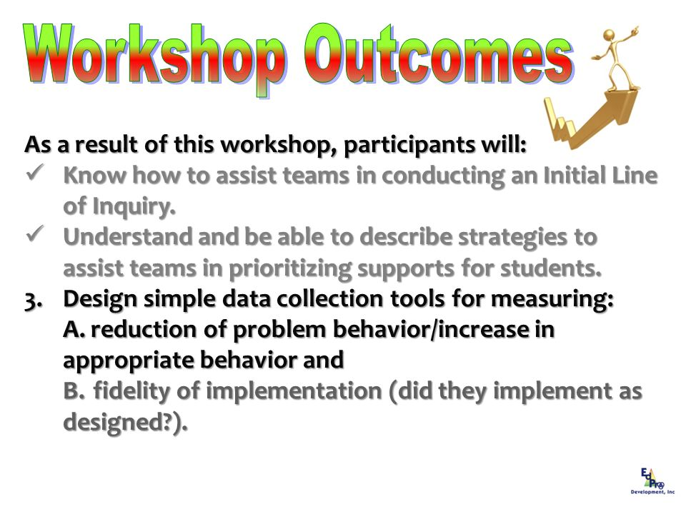 As a result of this workshop, participants will: Know how to assist teams in conducting an Initial Line of Inquiry. Know how to assist teams in conduc