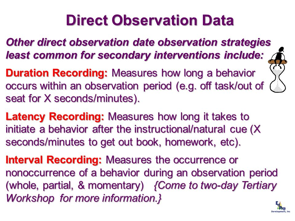 Direct Observation Data Other direct observation date observation strategies least common for secondary interventions include: Duration Recording: Mea