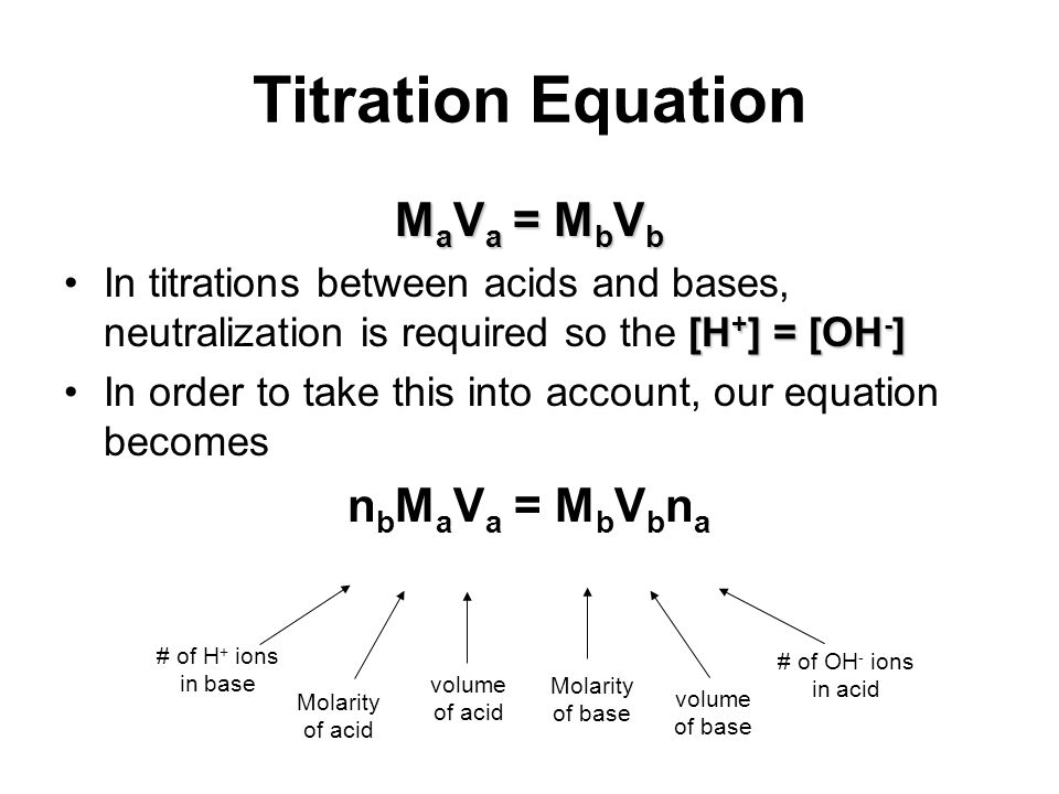 Titration Equation M a V a = M b V b [H + ] = [OH - ]In titrations between acids and bases, neutralization is required so the [H + ] = [OH - ] In orde