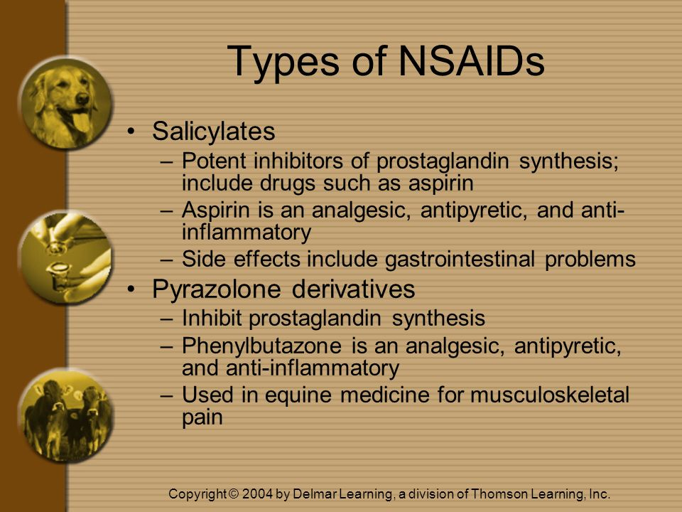 Copyright © 2004 by Delmar Learning, a division of Thomson Learning, Inc. Types of NSAIDs Salicylates –Potent inhibitors of prostaglandin synthesis; i