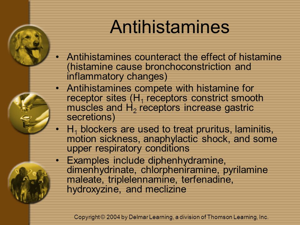 Copyright © 2004 by Delmar Learning, a division of Thomson Learning, Inc. Antihistamines Antihistamines counteract the effect of histamine (histamine