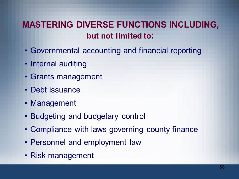 58 MASTERING DIVERSE FUNCTIONS INCLUDING, but not limited to : Governmental accounting and financial reporting Internal auditing Grants management Deb