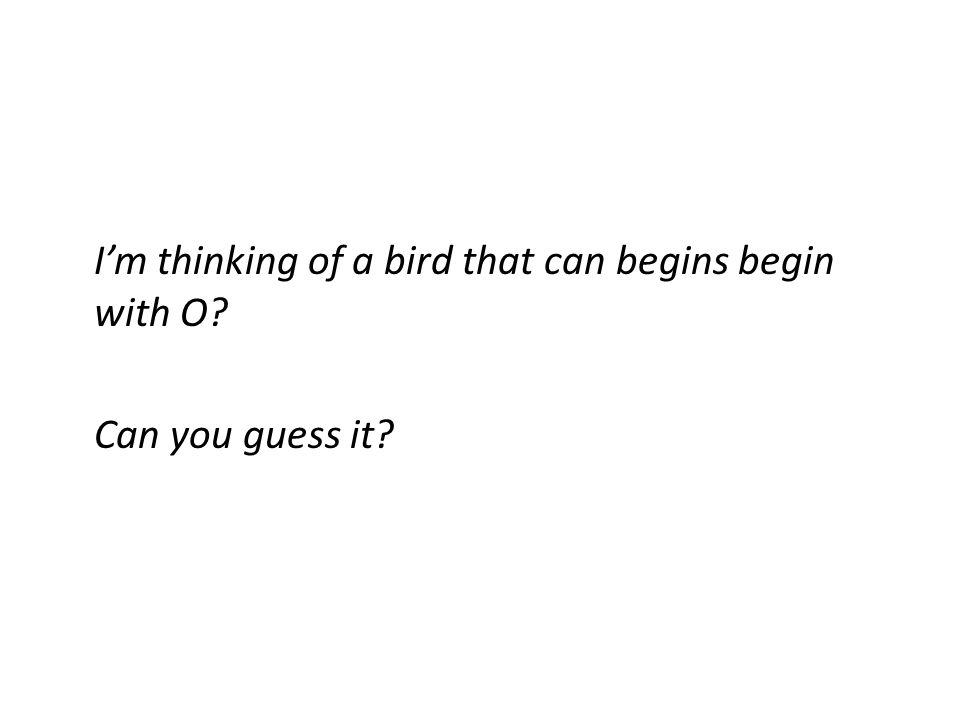 Im thinking of a bird that can begins begin with O? Can you guess it?