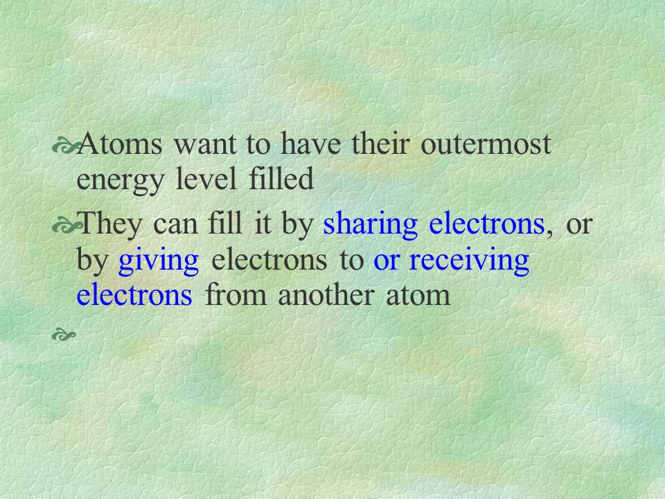 Atoms want to have their outermost energy level filled They can fill it by sharing electrons, or by giving electrons to or receiving electrons from another atom