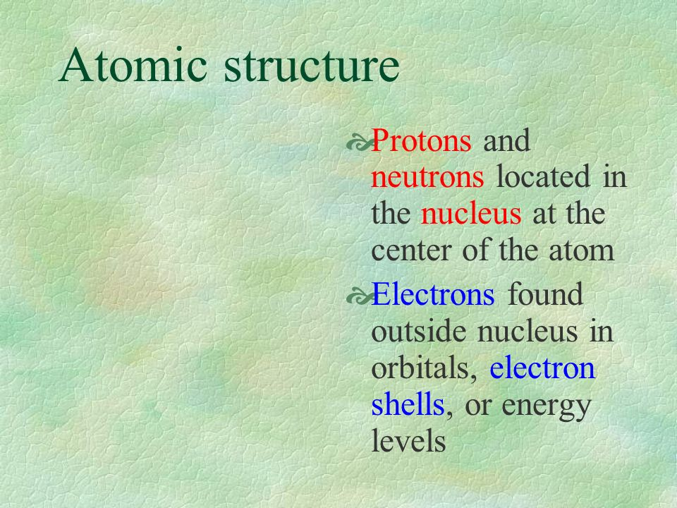 Atomic structure Protons and neutrons located in the nucleus at the center of the atom Electrons found outside nucleus in orbitals, electron shells, or energy levels