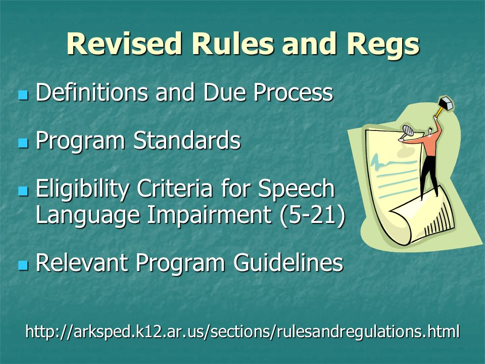 Evaluation Data Analysis Types of Communication Disorders Language Disorders Language Disorders Impaired comprehension and/or use of spoken, written, and/or other symbol systems.