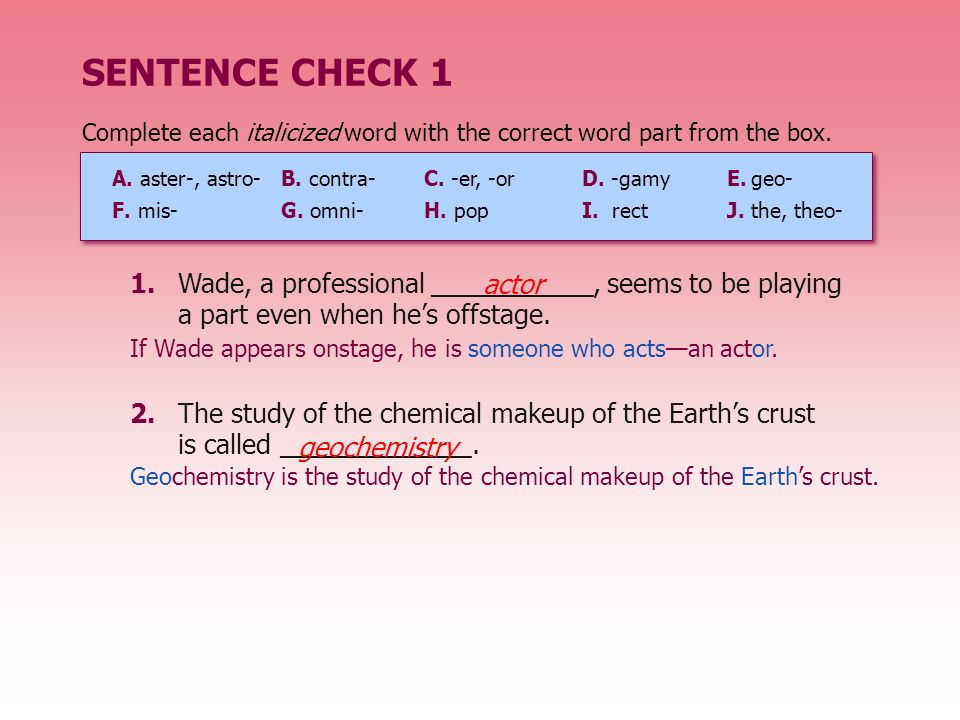 SENTENCE CHECK 1 2.The study of the chemical makeup of the Earths crust is called _____________.