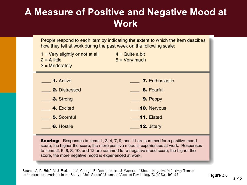 3-42 A Measure of Positive and Negative Mood at Work Figure 3.6 Source: A. P. Brief, M. J. Burke, J. M. George, B. Robinson, and J. Webster, Should Ne