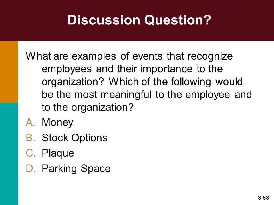 3-53 Discussion Question? What are examples of events that recognize employees and their importance to the organization? Which of the following would