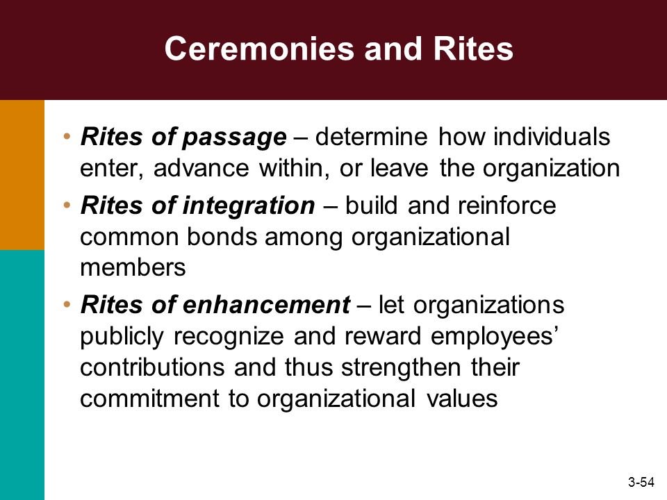 3-54 Ceremonies and Rites Rites of passage – determine how individuals enter, advance within, or leave the organization Rites of integration – build a