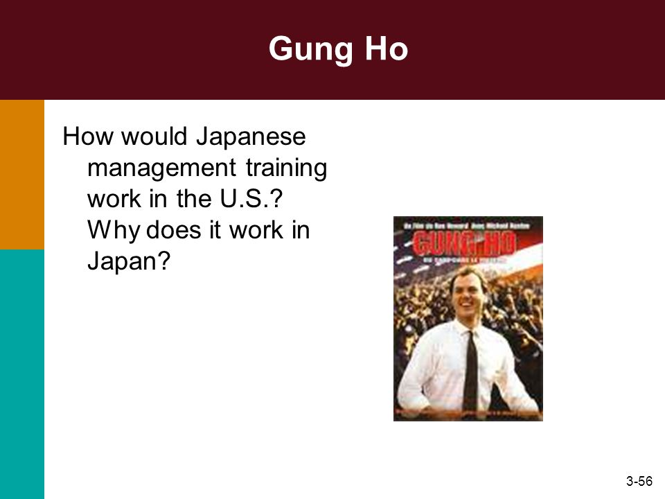 3-56 Gung Ho How would Japanese management training work in the U.S.? Why does it work in Japan?