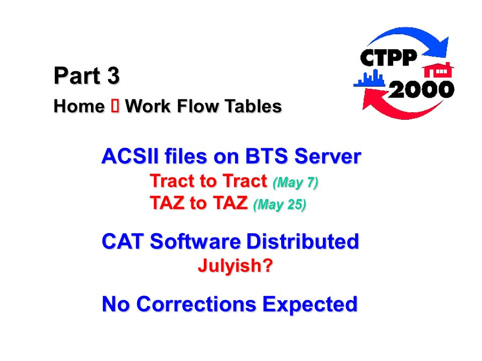 Part 3 Home Work Flow Tables ACSII files on BTS Server Tract to Tract (May 7) TAZ to TAZ (May 25) CAT Software Distributed Julyish.