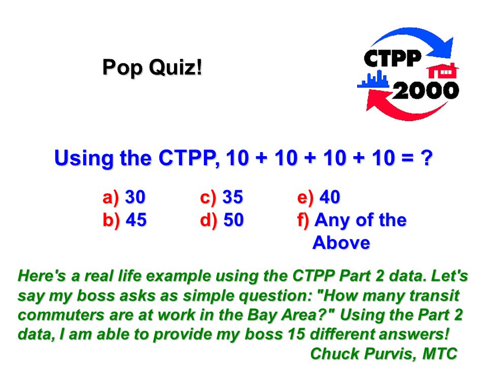 Using the CTPP, = . Pop Quiz.