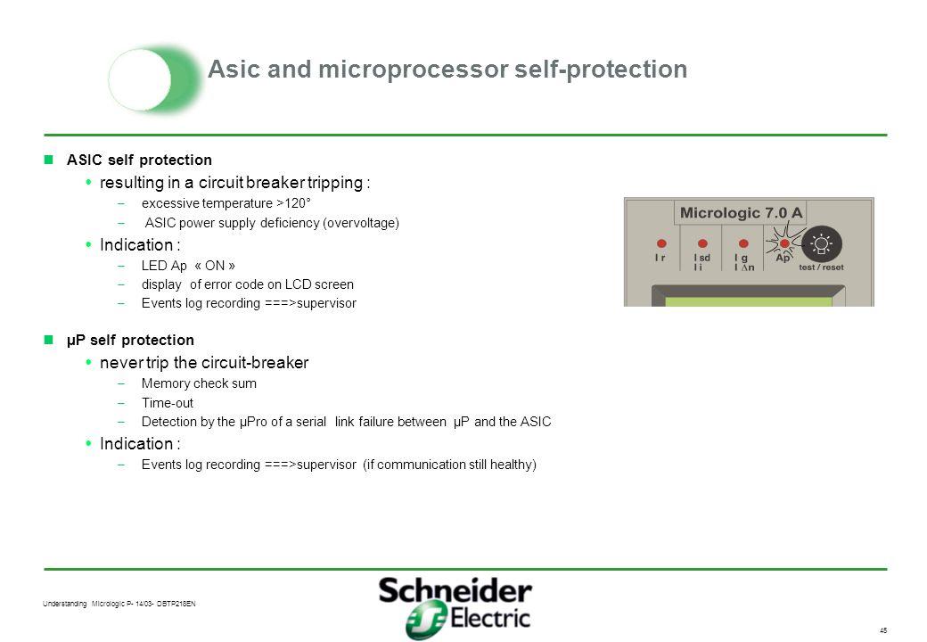 Understanding Micrologic P- 14/03- DBTP218EN 44 Asic and microprocessor self-protection ASIC Self protection : - temperature - power supply deficiency