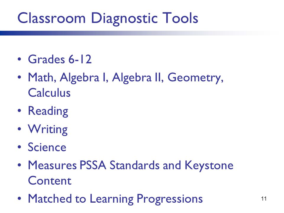 Grades 6-12 Math, Algebra I, Algebra II, Geometry, Calculus Reading Writing Science Measures PSSA Standards and Keystone Content Matched to Learning P