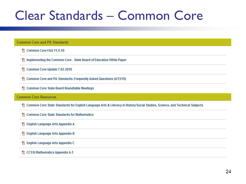 Clear Standards – Common Core 24