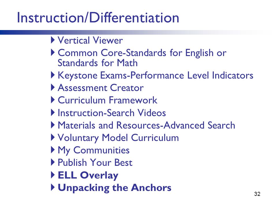 Vertical Viewer Common Core-Standards for English or Standards for Math Keystone Exams-Performance Level Indicators Assessment Creator Curriculum Fram