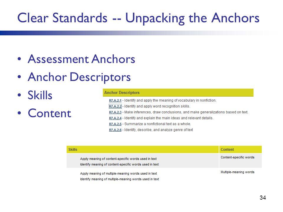 Assessment Anchors Anchor Descriptors Skills Content Clear Standards -- Unpacking the Anchors 34