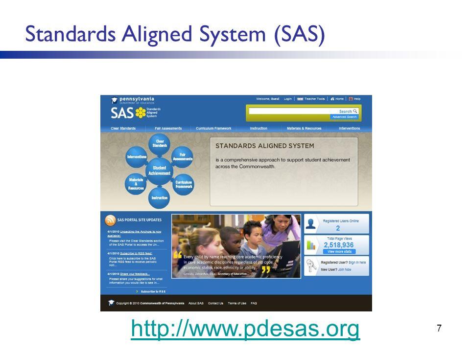 S Standards Aligned System (SAS) SSS(SAS http://www.pdesas.org 7